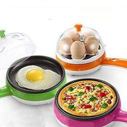 Hk Villa 2 In 1 Multifuctional Steaming Device egg pan Frying Egg Boiling Roasting Heating Electric Mini Egg Boiler Poac