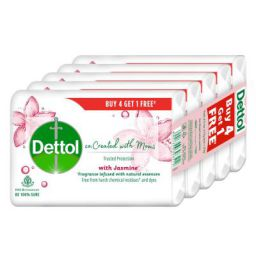 Dettol Co-created with moms Jasmine Bathing Soap, 75gm (Buy 4 Get 1 Free)