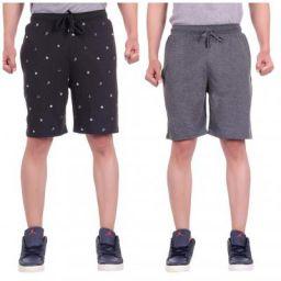 LIVFIT Men Cotton Shorts - Grey & Black
