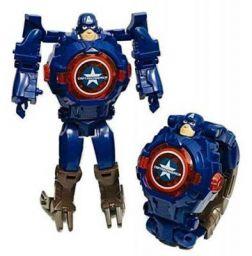 Shocknshop Captain America Robot Toy Convert to Digital Wrist Watch for Kids Robot Deformation Watch (Blue)