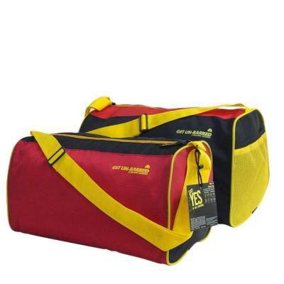 Mufubu Presents Get Unbarred Pack of 2 Red & Black Duffle Gym Bags 20 LTR Each