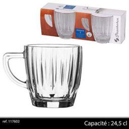 Pasabahce Glass Diamond Mug Set, Set of 2, Transparent