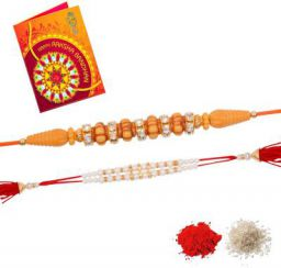 Scented Greeting Card Set  (2 Rakhi 1Greeting Card 1Roli 1 Chawal)