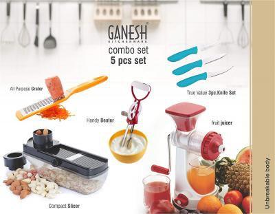 Ganesh Kitchen Combo Grater Slicer Beater Juicer Knife 5 Piece Combo