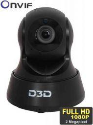 D3D 2.0 MP Wireless Full HD 1080P IP Wifi CCTV Indoor Security Camera (Black)