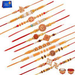 Bracelet Greeting Card Set  (12 Rakhi set 1 Greeting Card 1 Roli Chawal)
