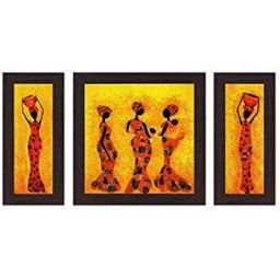 Wens Ladies with Pitcher MDF Wall Art (30 cm x 34 cm x 1.5 cm, Set of 3)