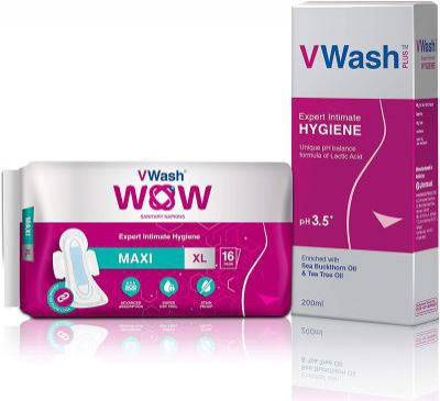 VWash Plus 200ml & Wow Maxi Thin Sanitary Napkin - 16 Pieces