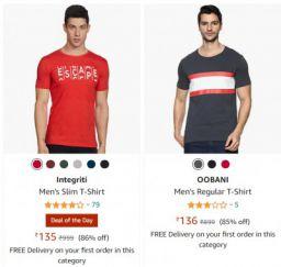 Men's Tshirts at Minimum 75% off