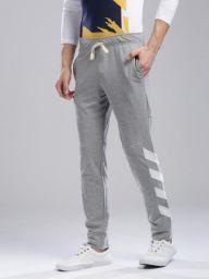 Hubberholme Grey Melange Striped Detail Slim Fit Joggers