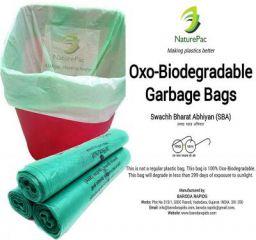 PRAKRUTIK Garbage Bags Biodegradable (Green,Medium Size,48cmX56cm,90 Bags)