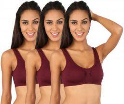 NOVEL Women Sports Lightly Padded Bra  (Maroon)
