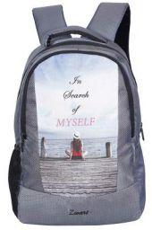 Zwart 25 Ltrs Grey Printed School Backpack (FAZER-Search)