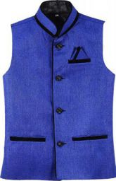 KGD Exports Men's Cotton Nehru Jacket Waistcoat (Blue, 40)