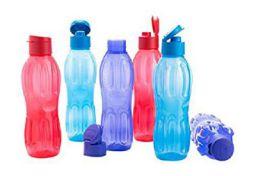 Signoraware Fliptop Aqua Plastic Bottle Set, Set of 6, 1 Litre