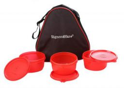 Signoraware Smart Plastic Lunch Box with Bag, 310ml, Set of 3