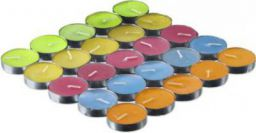 AuraDecor Pack of 25 Unscented MultiColour Tealight Candles