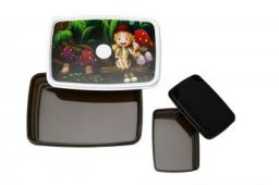 Signoraware Green Island Compact Plastic Lunch Box Set, Dark Cocoa