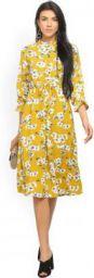 Tokyo Talkies Women A-line Yellow Dress