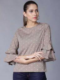 Tokyo Talkies Casual Layered Sleeve Polka Print Women White, Brown Top