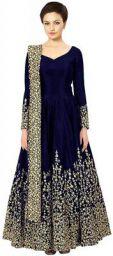 BRIDAL4Fashion Womens Taffeta Silk Semi Stitched Blue color Anarkali Long Gown (Free Size)