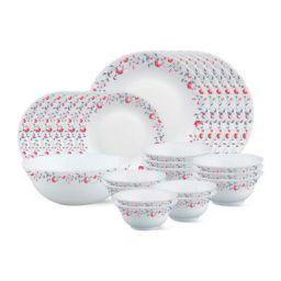 Borosil Fluted Pentas Dinner Set, 25-Pieces, White