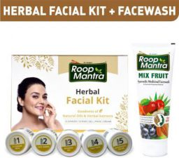 Roop Mantra Combo Kit (Herbal Facial Kit 75gm + Mix Fruit Face wash 115ml)
