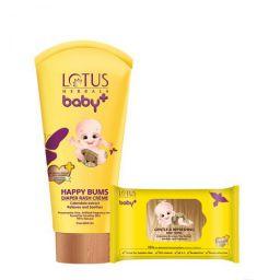 Lotus Herbals Baby+ Happy Bums Diaper Rash Creme 100 GMS & Gentle & Refreshing Baby Wipes 10 Count