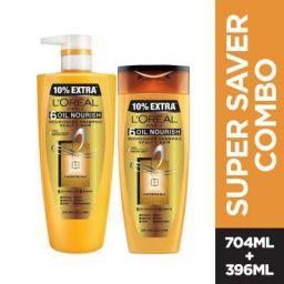 L'Oreal Paris 6 Oil Nourish Shampoo, 1L (640ml+360ml) - Combo pack of 2