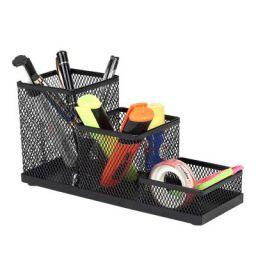 Callas Metal Mesh 3 Compartments Pen Stand Pencil Stand Desk Organizer Clip Holder, Black, CY3737