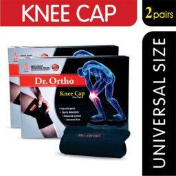 Dr Ortho Knee Cap (2 Pairs, Black, Universal Size)