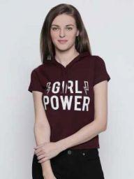 GIRL POWER   Graphic Print Women Hooded Maroon T-Shirt