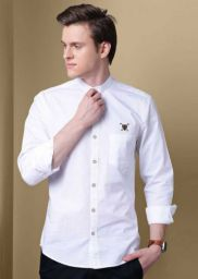 Men Solid Casual Mandarin Shirt