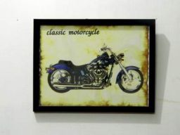 tu casa Burnout Effect Wall Hanging Vintage Bike Poster (Paper, 29.2 cm x 0.63 cm x 22.22 cm, Dark Brown, TUD-2360)