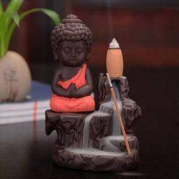 Meditating Monk Buddha Smoke Backflow Cone Incense Holder Decorative Showpiece - 12 cm