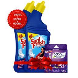 Sanifresh Ultrashine 1L ( 500 + 500) Toilet Cleaner -1.5X Extra Strong Extra Clean with Odonil Room Freshner Blocks 50 g Free