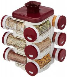Amazon Brand - Solimo Revolving Spice Rack (12 pieces)