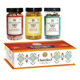 Sattviko Elite Gift Box   Diwali Gift   Festival Gift   Paan Raisin, Gur Chana, And Ajwaini Flax Seed