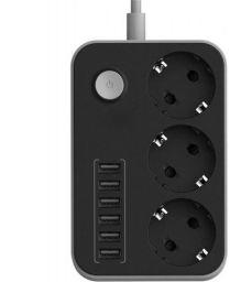 Shopizone Extension Board 3 Plug & 6 USB Ports Power Socket 3 Socket Extension Boards