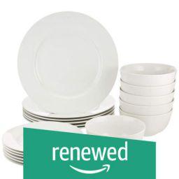 (Renewed) AmazonBasics 18-Pieces Dinnerware Set, White