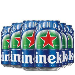 Heineken 0.0 % Non Alcoholic Lager Beer Zero Dot Zero Can - Pack of 6, 6 x 330 ml