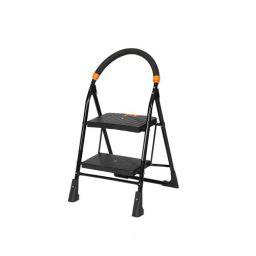 Happer Premium Foldable Step Ladder, Clamber, 2 Steps (Black & Orange)