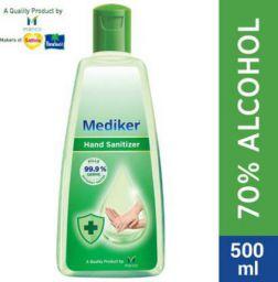 Mediker Alcohol Based Instantly Kills 99.9% Germs Without Water Hand Sanitizer Bottle (500 ml)