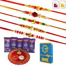 Maalpani Rakhi Set of 5 - Chocolates and Pooja Thali - Rakhi Gift Set