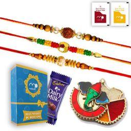Maalpani Fancy Rakhi Pooja Gift Set - 3 Premium Bead and Rudraksh Rakhi with Kankavati and Chocolate