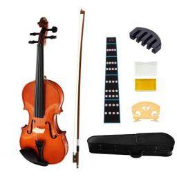 Juarez Legnò Full Size 4/4 Violin Kit, JRV100NT with Bow, Rosin, Fretboard Sticker, Mute, Bridge, Oblong Case, Natural