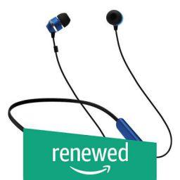 (Renewed) Samsung ITFIT Bluetooth Wireless Earphone with Flexible Neck Band and handsfree Mic (GP-OAU019SABBI, Blue-Black)