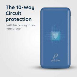 Pebble 10000mAh Li-Polymer Power Bank Volt+ (Blue) with Type-C Input & 12W Fast Charging