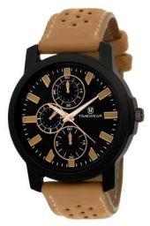 TIMEWEAR Analogue Men's Watch (Black Dial Brown Colored Strap)