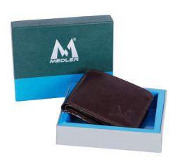 M MEDLER Men Casual Brown Genuine Leather Wallet